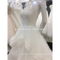 Bling Fashion Strapless Empire Puffy Ruffles Robe De Maree 2015 Lace Appliqued Ball Gown Wedding Dress A025