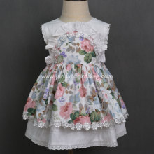 Summer vintage cotton print fabric baby girl dresses
