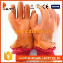 Orange PVC Glatt / Sandy Finished Handschuh mit Acryl Boa Liner-Dpv113