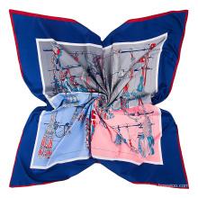 Fashion rope tassels pattern printed scarf imitation silk fabric scarf 130x130cm square sacrf