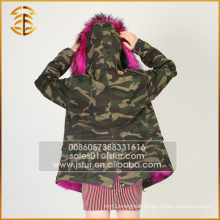 Factory Wholesale Custom Brand Winter Women Raccoon Fur Parka