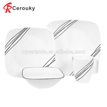Микроволновая печь и посудомоечная машина белого квадратного фарфорового керамического набора для ужина