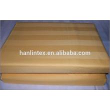100% algodão Stripe tecido lavável White BedSheets Custom Hotel Linens Atacado