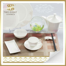 ceramic white embossed dinnerware set , restaurant dinnerware