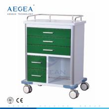 AG-GS006 Dark green series powder coating steel wholesale hospital new medication carts