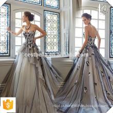 Sexy Longo romântico sem mangas bordado rendas doce coração vestido de noite elegante princesa vestido de noite