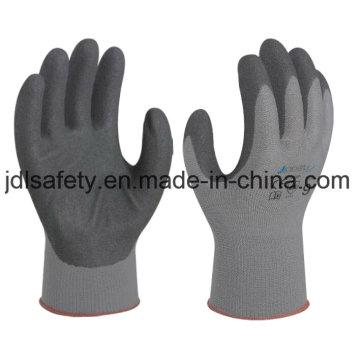 Algodón y Spandex trabajo guante con nitrilo Sandy inmersión (N1585)