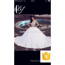 Vestidos de casamento de manga longa com strass Vestidos de baile de cristais elegantes e elegantes Vestidos de noiva em árabe Dubai
