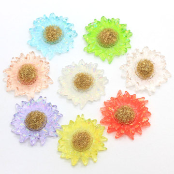 Big Clear Daisy Flower Resin Flower Flatback Cabochon Perle Brosche Patch Diy Crafts Schmuck machen