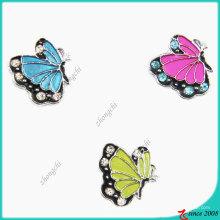 Moda metal liga de zinco esmalte borboleta slider charme (jp08)