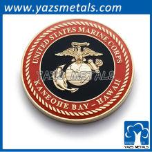 Personalizar monedas militares, moneda de cuerpo de marino a medida con esmalte suave
