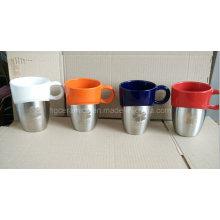 Laser Engraved Stainless Steel Bottom Ceramic Mug