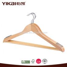 Cabide de madeira para adultos com barra de calças e ombros antiderrapantes