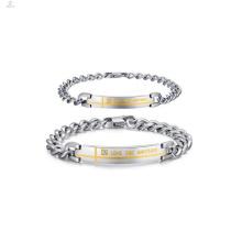 Casais personalizados jóias pulseira pesada, prometer pulseiras para casais
