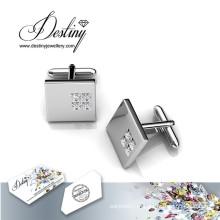 Destino joias cristal de Swarovski quadrado 2 botões de punho