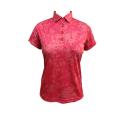 Ladies knit digital print Polo shirt