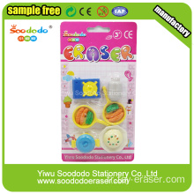 Round Colors Dolls School Eraser