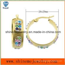 Shineme ювелирные изделия Цвет камень мода позолоченные серьги (ERS6917)