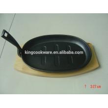 cast iron steak baking sizzling pan with wood base