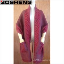 Bufanda de moda de punto dos bolsillos de final Chales de acrílico de bufanda de invierno