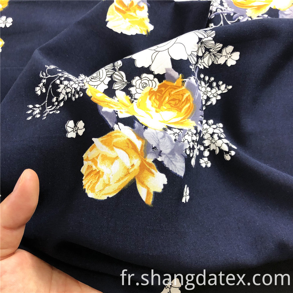Rayon 45s Navy With Flower