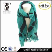2015 de la bufanda de la bufanda del tartán de la señora Women verde elegante de moda