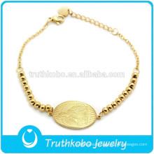 TKB-B0059 18K Solid Gold Madonna Virgin Mary Bracelet Gold Filled Engrave