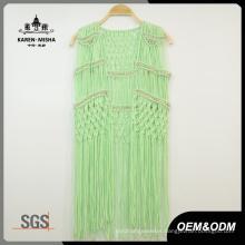 Women Special Design Metallic Bead Green Beachwear