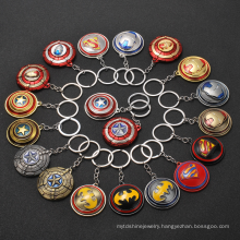 2021 Hot Sale Spinning Shield Heroes Ironman Spiderman Captain America Pendant Keychain Key Ring Charm