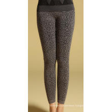 Womens Leopard Jacquard Seamless French Terry Leggings