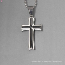 Оптовая простой дизайн серебряный кулон, эмаль черный крест кулон