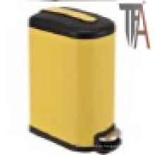 Rectángulo de color amarillo Cajón de basura con tapa blanda - Cestas de seda