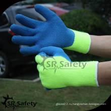 SRSAFETY 7 калибра Акриловые подгузники Трикотажные супер безопасные синие латексные рабочие перчатки / синие защитные латексные рабочие перчатки