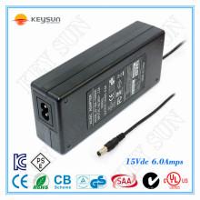 Fonte de alimentação LED 15V6A para luz de tira conduzida