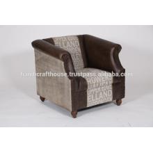 Cuero de cuero antiguo sofá de una sola sala de estar industrial