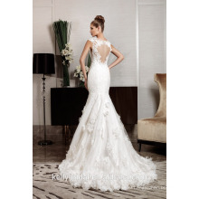 ZM16029 3D Flower Appliqued Fashion Designer Wedding Dresses romantic Sexy Open Back Mermaid Bridal Gown GuangZhou Factory