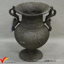 Classy Rusty Grey Pedestal Cast Iron Flower Antique Metal Vase