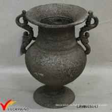 Классический ржавый серый пьедестал Чугунный цветок Античная металлическая ваза