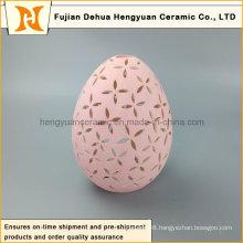 New Product Pink Egg Shape Ceramic Tealight Candle Holder