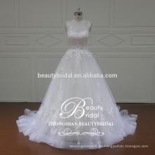 Magnífico barco ver a través de vestido de novia de espalda, diseñador de Líbano sin mangas vestido de novia