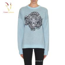 mulheres malha suéter de cashmere com estampa de leopardo