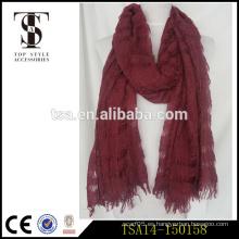 Hermoso estilo begger agujero tipo lana roja y acrílico blendiing bufanda nuevo diseño