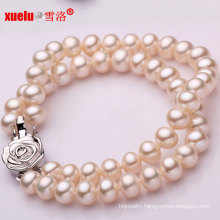 7-8mm Round Double 100% Genuine Freshwater Pearl Bracelet