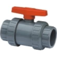 Válvula de esfera verdadeira do PVC Union, válvula de esfera dobro da união, válvula de esfera plástica