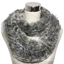 Lady Fashion Polyester Faux Fur Infinity Knitted Scarf (YKY4366)