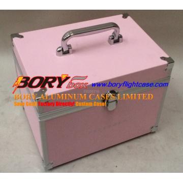 Hard Case Benutzerdefinierte Farbe Tragbare Aluminium Kosmetik Zugkoffer mit Griff