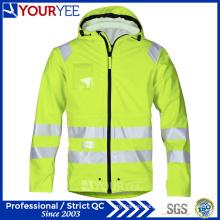 Waterproof Safety High Visibility Hi Vis PU Rain Jackets (YFG115)