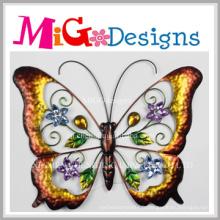 Décoration murale en métal coloré papillon