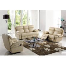 Beige Color Leather Manual Recliner Furniture