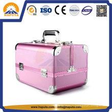 Розовая отделка алюминиевый ящик для хранения косметики (HB-3182)
